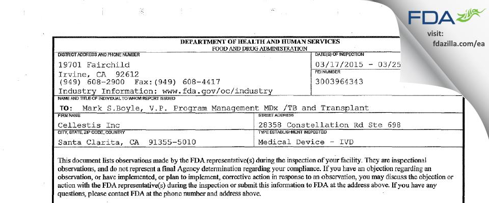 Cellestis FDA inspection 483 Mar 2015