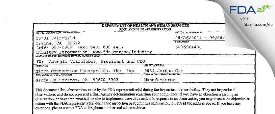 The Micro Connection Enterprises DBA Personal Care Per FDA inspection 483 Sep 2014