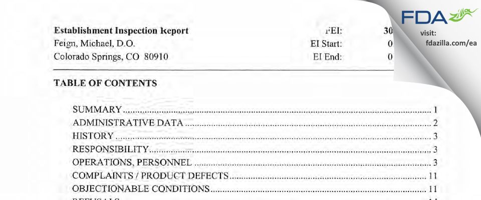 Feign, Michael, D.O. FDA inspection 483 Jan 2005