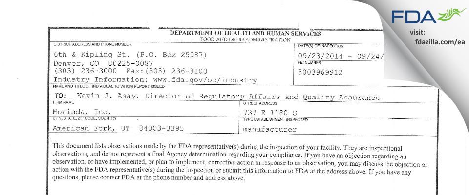 Morinda FDA inspection 483 Sep 2014