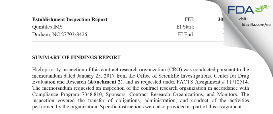 Quintiles IMS FDA inspection 483 May 2017