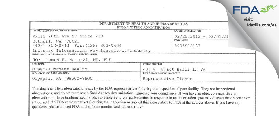 Olympia Women's Health FDA inspection 483 Mar 2013