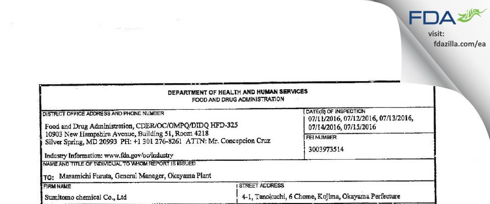 Sumitomo Chemicals FDA inspection 483 Jul 2016