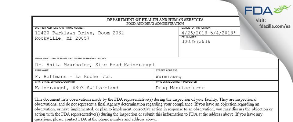 F. Hoffmann - La Roche FDA inspection 483 May 2018