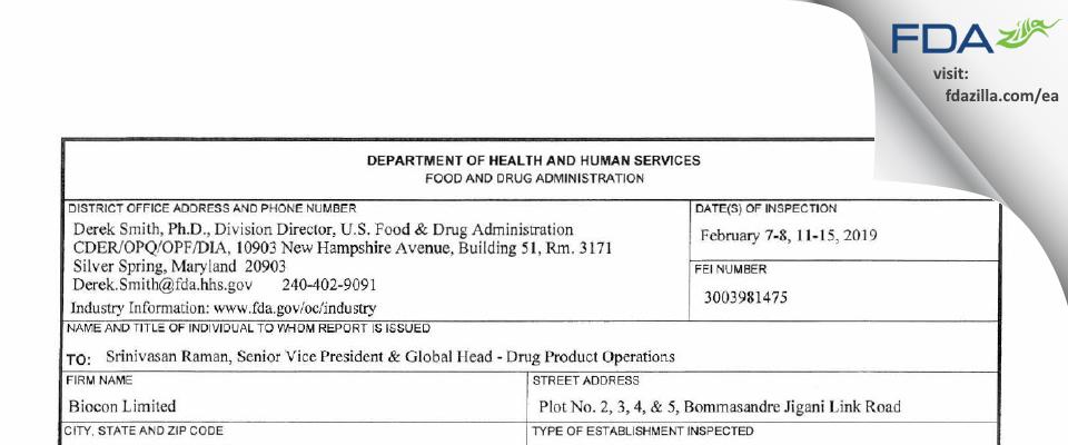 Biocon Biologics India FDA inspection 483 Feb 2019
