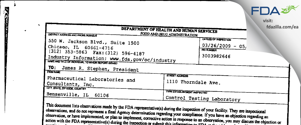 Pharmaceutical Labs and Consultants FDA inspection 483 May 2009