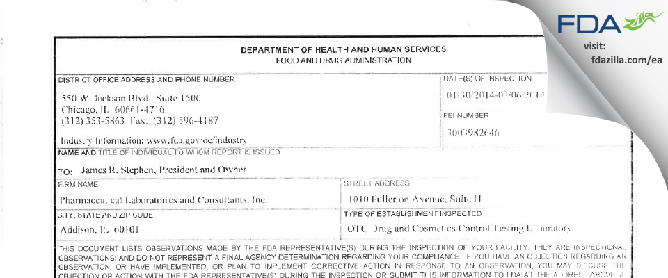 Pharmaceutical Labs and Consultants FDA inspection 483 Mar 2014