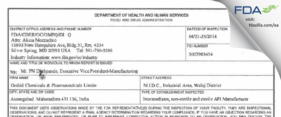 Pfizer Healthcare India Private FDA inspection 483 Apr 2014