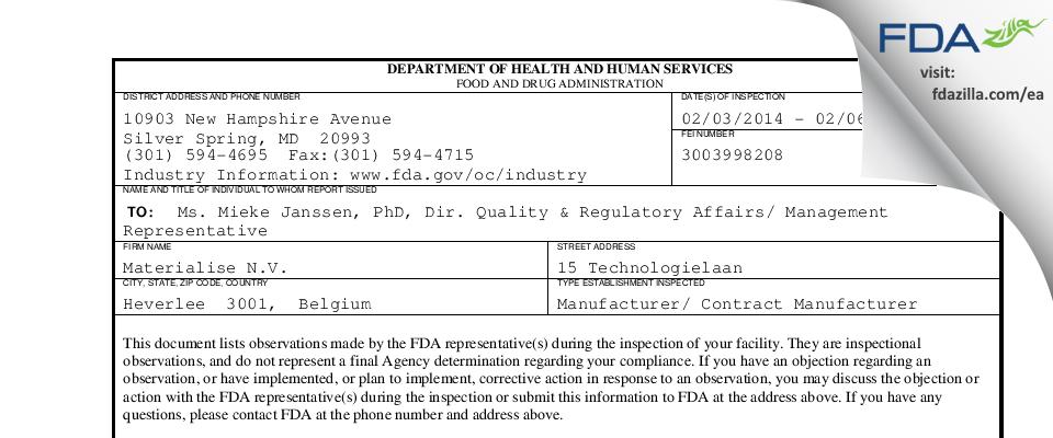 Materialise N.V. FDA inspection 483 Feb 2014