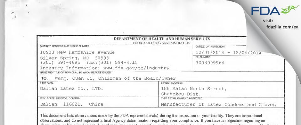 Dalian Latex FDA inspection 483 Dec 2014