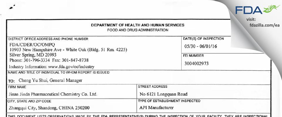 Jinan Jinda Pharmaceutical Chemistry FDA inspection 483 Jun 2016