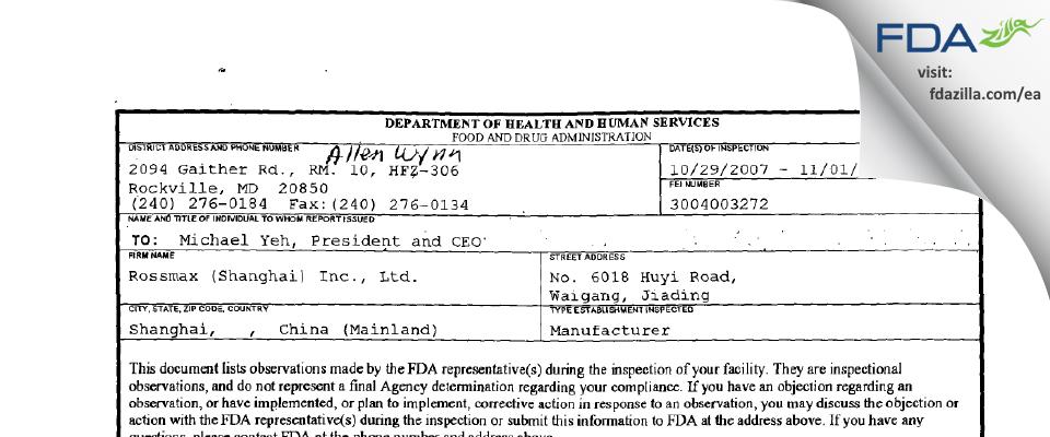 Rossmax (Shanghai) FDA inspection 483 Nov 2007