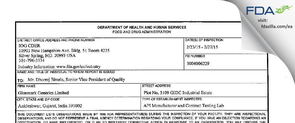 Glenmark Life Sciences FDA inspection 483 Feb 2015
