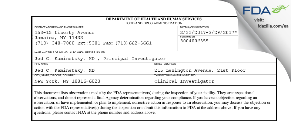 Jed C. Kaminetsky, MD FDA inspection 483 Mar 2017