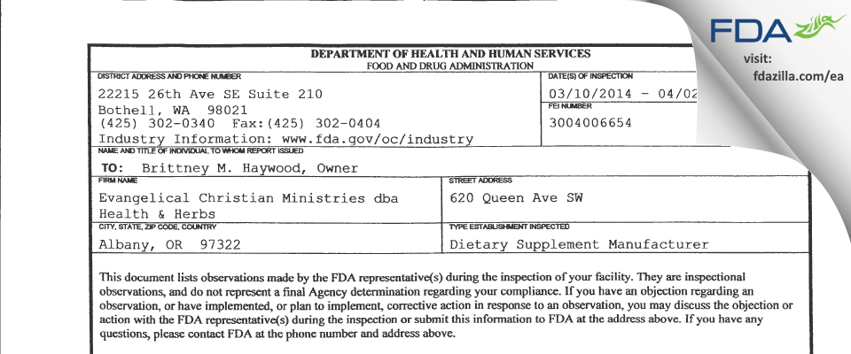 Evangelical Christian Ministry dba Health & Herbs FDA inspection 483 Apr 2014