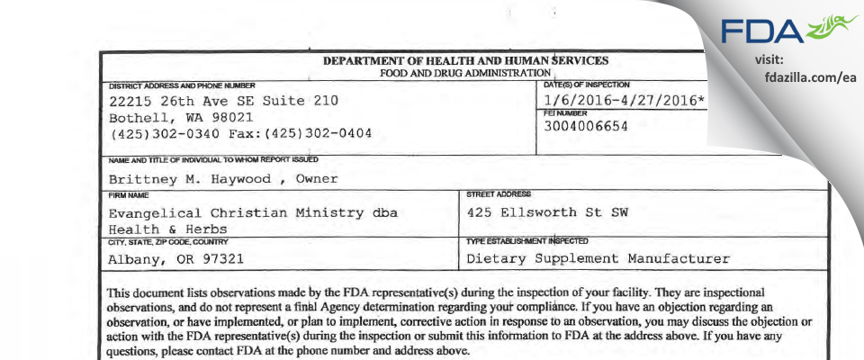 Evangelical Christian Ministry dba Health & Herbs FDA inspection 483 Apr 2016