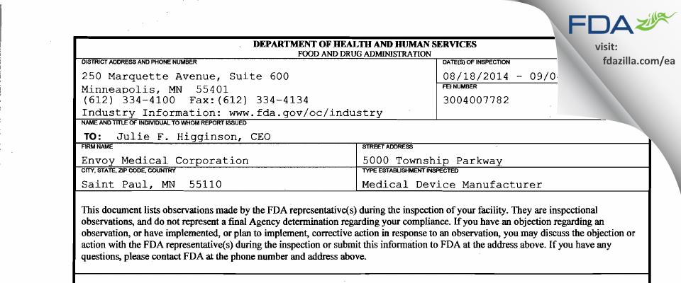 Envoy Medical FDA inspection 483 Sep 2014