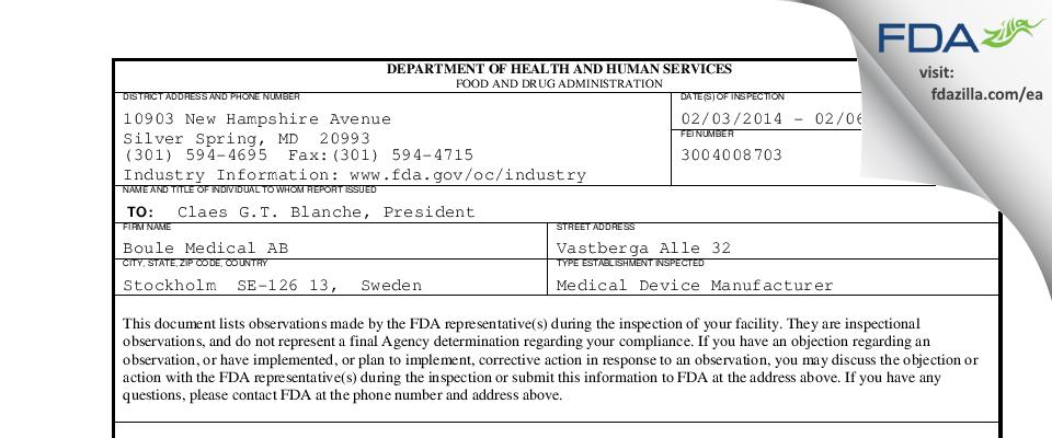 Boule Medical AB FDA inspection 483 Feb 2014
