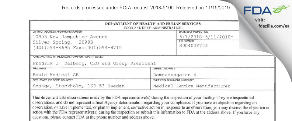 Boule Medical AB FDA inspection 483 May 2018
