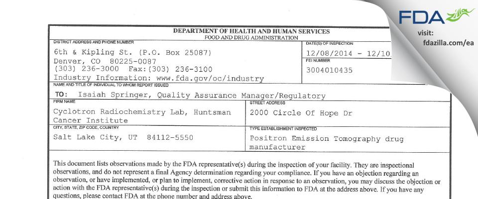 Cyclotron Radiochemistry Lab, Huntsman Cancer Institute FDA inspection 483 Dec 2014