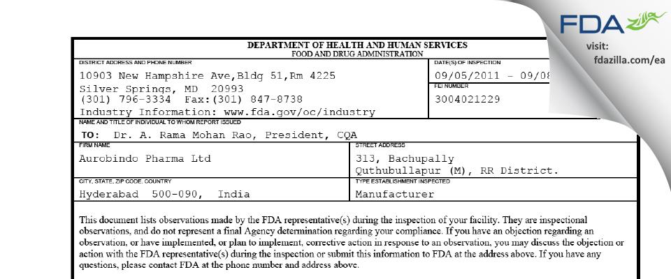 Aurobindo Pharma (Unit III) FDA inspection 483 Sep 2011