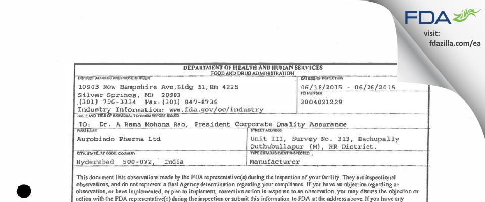 Aurobindo Pharma (Unit III) FDA inspection 483 Jun 2015