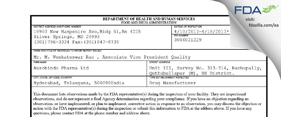 Aurobindo Pharma (Unit III) FDA inspection 483 Apr 2017