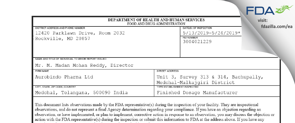 Aurobindo Pharma (Unit III) FDA inspection 483 May 2019