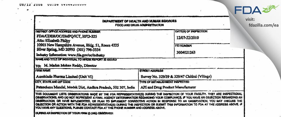 Aurobindo Pharma Limited, Unit VI FDA inspection 483 Dec 2010