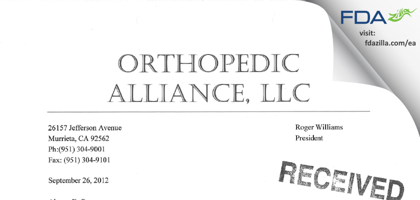 Orthopedic Alliance FDA inspection 483 Sep 2012