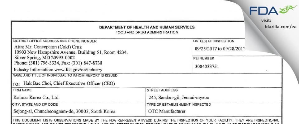 Kolmar Korea FDA inspection 483 Sep 2017