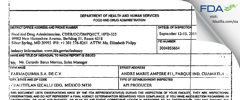 Unilever Mexico S de R.L. de C.V. FDA inspection 483 Sep 2011