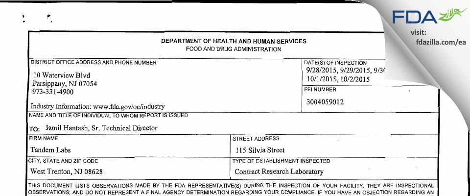 Tandem Labs A LabCorp Company FDA inspection 483 Oct 2015
