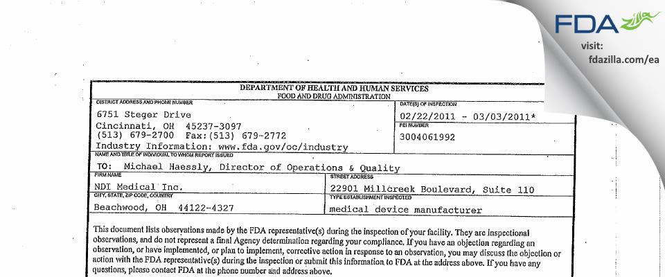 NDI Medical FDA inspection 483 Mar 2011
