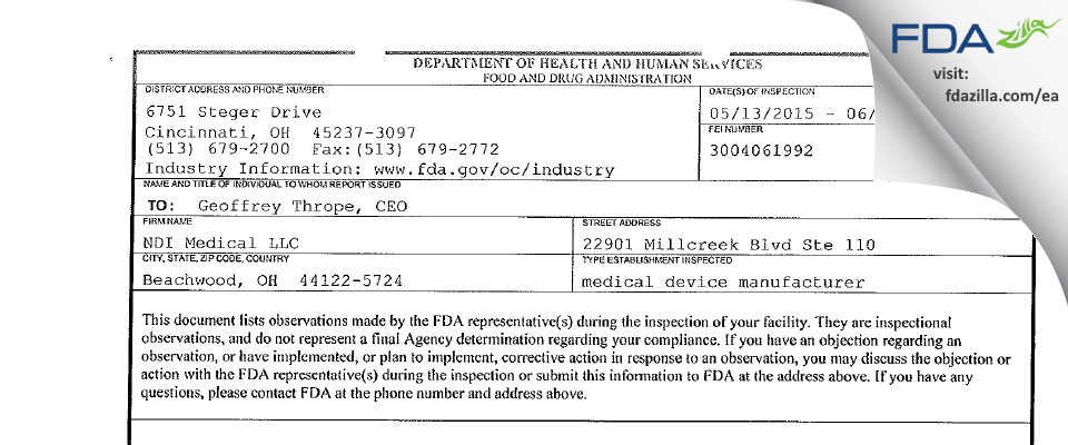 NDI Medical FDA inspection 483 Jun 2015