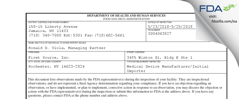 First Source FDA inspection 483 May 2018