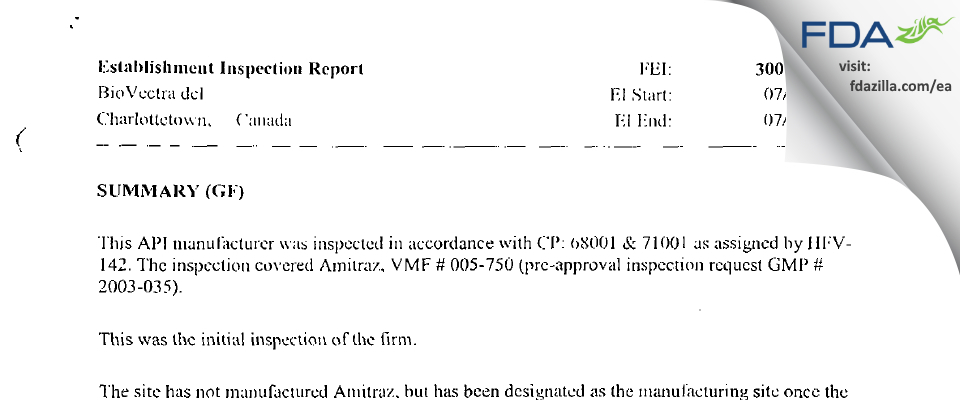 Biovectra FDA inspection 483 Jul 2003
