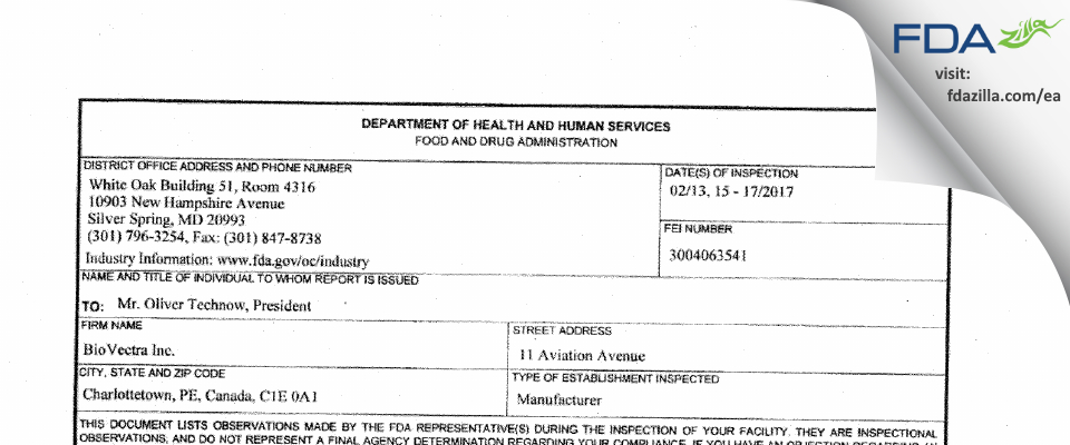Biovectra FDA inspection 483 Feb 2017