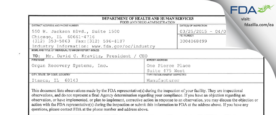 Organ Recovery Systems FDA inspection 483 Apr 2015