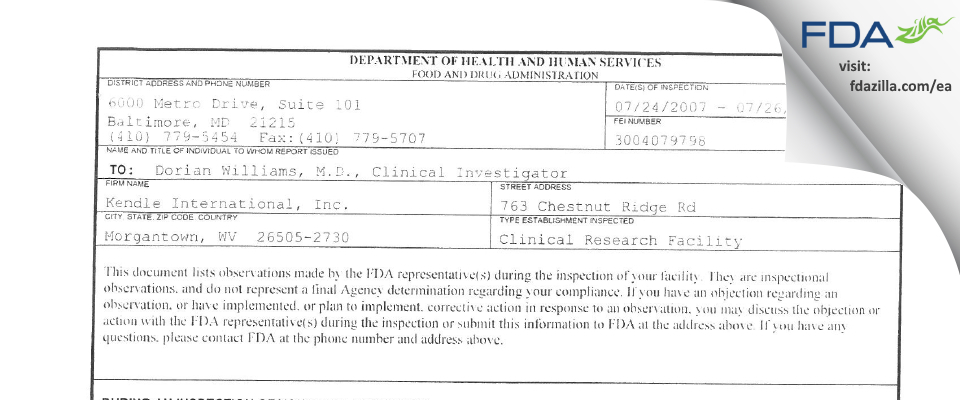 Kendle International, CPU FDA inspection 483 Jul 2007