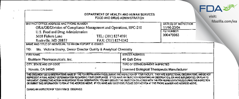 BioMarin Pharmaceutical FDA inspection 483 Nov 2004