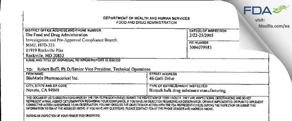 BioMarin Pharmaceutical FDA inspection 483 Feb 2005