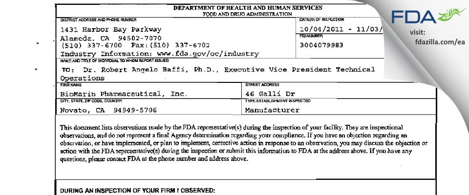 BioMarin Pharmaceutical FDA inspection 483 Nov 2011