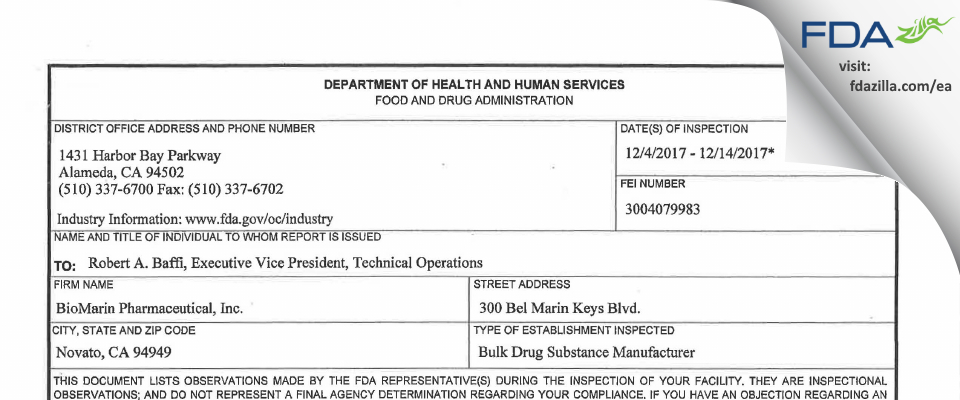 BioMarin Pharmaceutical FDA inspection 483 Dec 2017