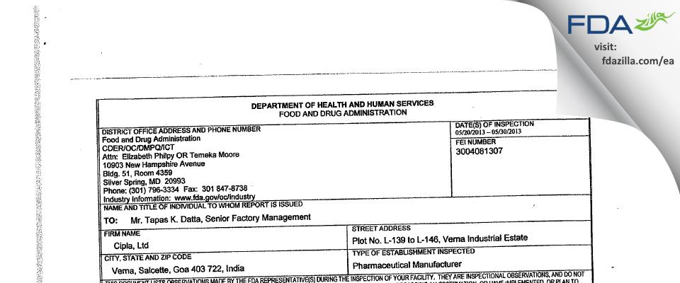 Cipla FDA inspection 483 May 2013