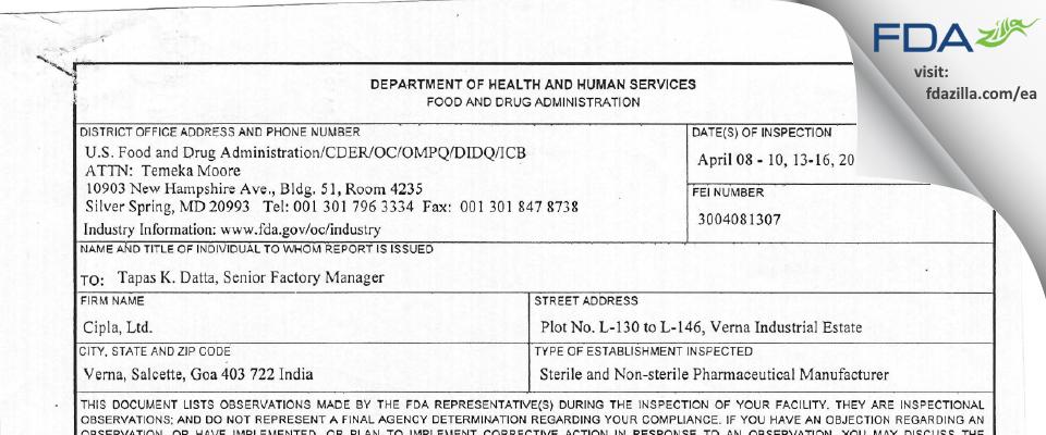 Cipla FDA inspection 483 Apr 2015