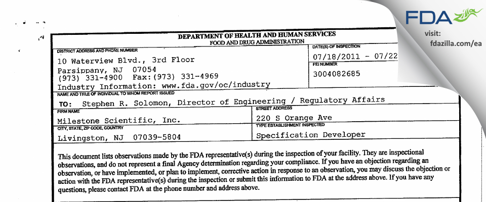 Milestone Scientific FDA inspection 483 Jul 2011