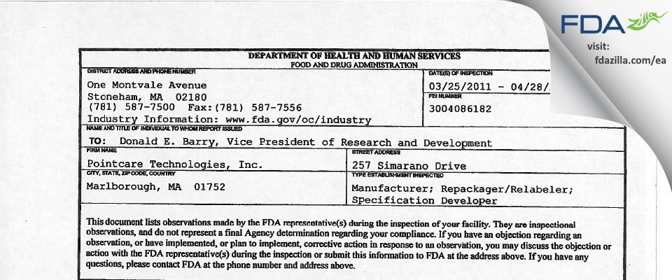Pointcare Technologies FDA inspection 483 Apr 2011