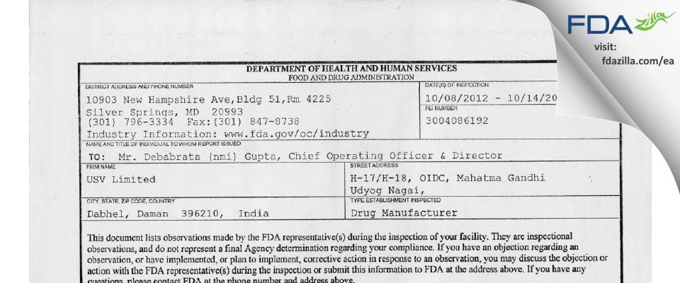 USV FDA inspection 483 Oct 2012