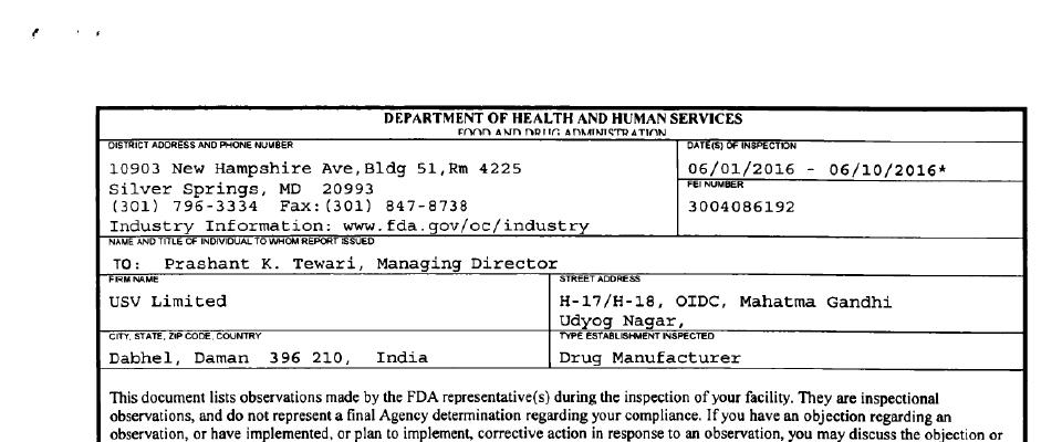 USV FDA inspection 483 Jun 2016